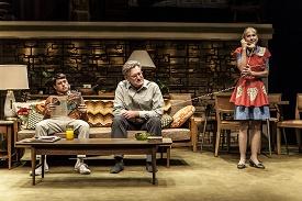 "Photo © Joan Marcus. Ricky (Raviv Ullman), Ozzie (Bill Pullman), Harriet (Holly Hunter) in a scene from ""Sticks and Bones."""