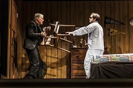 Photo © Joan Marcus. Father Donald (Richard Chamberlain) helps David (Ben Schnetzer) battle his demos.