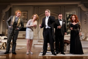 "Rupert Grint, Megan Mullally, Matthew Broderick, Nathan Lane, and Stockard Channing in ""It's Only A Play."" Photo © Joan Marcus"
