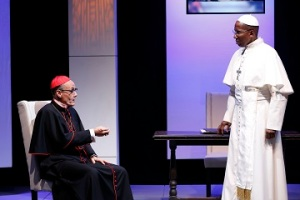 "Robert Verlaque as Fernando Medeiros  and Mel Johnson Jr as Pope Augustine in ""The Road To Damascus."" Photo by Carol Rosegg"