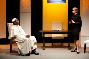"Mel Johnson Jr as Pope Augustine and Larisa Polonsky as Nadia Kirilenko in ""The Road To Damascus."" Photo by Carol Rosegg"