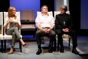 "Larisa Polonsky as Nadia Kirilenko, Rufus Collins as Dexter Hobhouse, and Joris Stuyck as Roberto Guzman in ""The Road To Damascus."" Photo by Carol Rosegg"