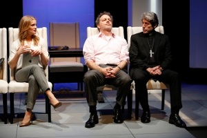 "Larisa Polonsky as Nadia Kirilenko, Rufus Collins as Dexter Hobhouse, and Joris Stuyck as Roberto Guzman in ""The Road To Damascus."" Photo by Carol Rosegg"