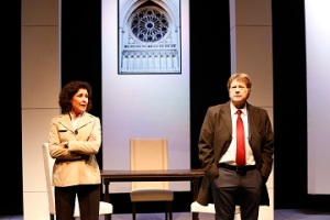 """Liza Vann as Bree Benson and Joseph Adams as Ted Bowles in """"The Road To Damascus."""" Photo by Carol Rosegg"""