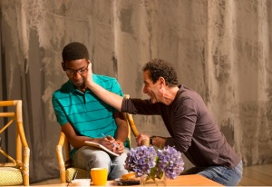 "Mamoudou Athie as Jonny with Tony Shalhoub as Howard in a scene from ""The Mystery of Love & Sex.""  Photo © I. Charles Erickson"