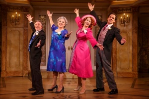 Chip Zien as Maury and Tyne Daly as Judy Steinberg with Harriet Harris as Georgette and Michael X. Martin as George Howard. Photo by Joan Marcus.