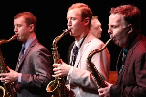 L-R: Peter Anderson, Will Anderson and Harry Allen in The Joy of Sax. Photo by Junior Gomez