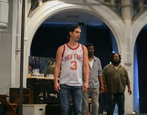 Hamish Linklater, Teagle F. Bougere, and Jacob Ming-Trent in rehearsal for The Public Theater's Free Shakespeare in the Park production of Cymbeline, directed by Daniel Sullivan, running at the Delacorte Theater in Central Park July 23 through August 23. Photo credit: Tammy Shell.
