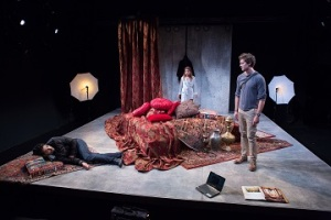 Karan Oberoi, Alia Attallah and Quinn Franzen in Threesome, part of the 5A Season at 59E59 Theaters. Photo by Hunter Canning