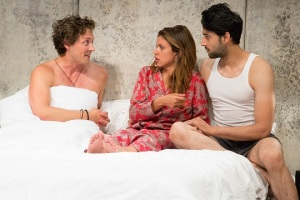 Quinn Franzen, Alia Attallah and Karan Oberoi in Threesome,/ part of the 5A Season at 59E59 Theaters. Photo by Hunter Canning
