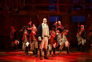 Lin-Manuel Miranda and the company of Hamilton. Photo © Joan Marcus