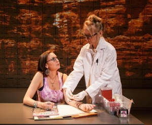 "The New York City premiere of ""Informed Consent"" at Primary Stages by Deborah Zoe Laufer and directed by Liesl Tommy. Pictured DeLanna Studi, and Tina Benko."
