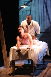 Yaegel T. Welch (top) and John Skelley in Marcus Gardley's Desire Quenched by Touch, in DESIRE, produced by The Acting Company for the 5A Season at 59E59 Theaters. Photo by Carol Rosegg