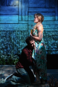 John Skelley and Megan Bartle in Rebecca Gilman's The Field of Blue Children, in DESIRE, produced by The Acting Company for the 5A Season at 59E59 Theaters. Photo by Carol Rosegg