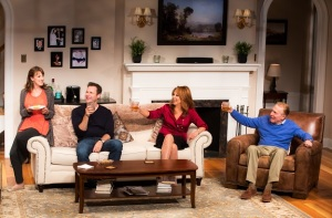 Kate Wetherhead, George Merrick, Marlo Thomas and Greg Mullavey in a scene  from Joe DiPietro's Clever Little Lies directed by David Saint at the Westside Theatre. (Photo by Matthew Murphy)