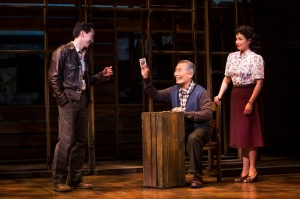 Michael K. Lee, George Takei and Lea Salonga in a scene from Allegiance (c) Matthew Murphy