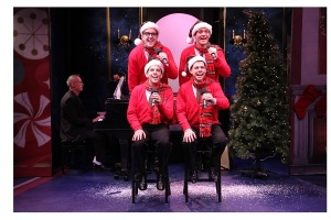 Bradley Beahen as Frankie, John-Michael Zuerlein as Smudge, Jose Luaces as Sparky, and Ciaran McCarthy as Jinx in the New York premiere of Plaid Tidings, the holiday edition of the ever popular Forever Plaid. James Followell on piano and Joseph Fitzgerald on bass in background. Now in performance through December 27, 2015 at The York Theatre Company at Saint Peter's. Photo Credit: Carol Rosegg.