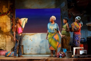 """Zainab Jah, Saycon Sengbloh, Pascale Armand, and Lupita Nyong'o in a scene from Danai Gurira's Eclipsed"""", directed by Liesl Tommy. (Photo by Joan Marcus)"""