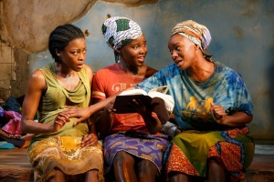 Pascale Armand, Lupita Nyong'o, and Saycon Sengbloh in a scene from Danai Gurira's Eclipsed, directed by Liesl Tommy. (Photo by Joan Marcus)