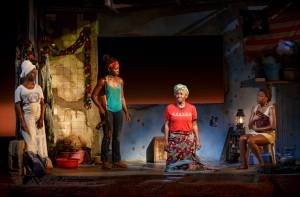 Akosua Busia, Lupita Nyong'o, Saycon Sengbloh, and Pascale Armand in a scene from Danai Gurira's Eclipsed, directed by Liesl Tommy. (Photo by Joan Marcus)