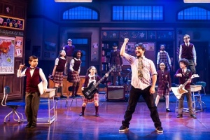 Alex Brightman and the kid band from School of Rock - The Musical Photo by Matthew Murphy