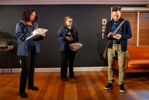 A Life by Adam Bock at Playwrights Horizons Directed by Anne Kaufman Starring David Hyde Pierce and with Marinda Anderson, Brad Heberlee, Nedra McClyde, Lynne McCollough. Photo © Joan Marcus