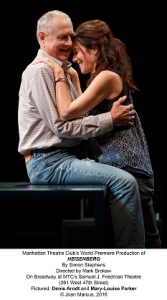 Heisenberg Georgie- Mary-Louise Parker and Alex-- Denis Arndt; Set Designer Mark Wendland; Costume Designer Michael Krass; Lighting Designer Austin R. Smith; Original Music and Sound Designer David Van Tieghem. Photo © Joan Marcus