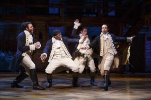Daveed Diggs, Okieriete Onaodowan, Anthony Ramos, and Lin-Manuel Miranda in Hamilton Photo © Joan Marcus