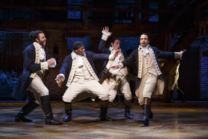 Daveed Diggs, Okieriete Onaodowan, Anthony Ramos, and Lin-Manuel Miranda in Hamilton Photo © Joan Marcus